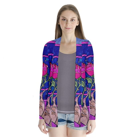 Enchanted Rose Stained Glass Drape Collar Cardigan