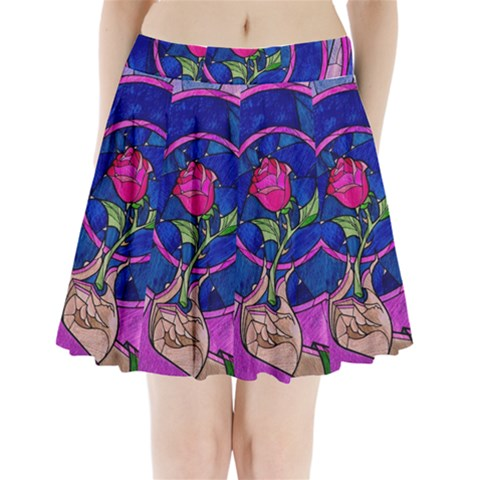 Enchanted Rose Stained Glass Pleated Mini Skirt