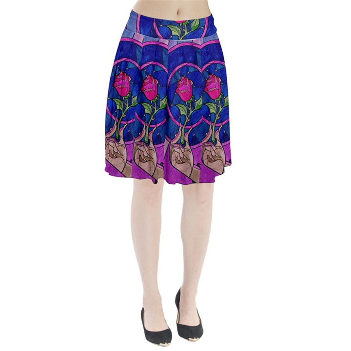 Enchanted Rose Stained Glass Pleated Skirt