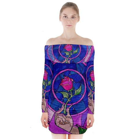 Enchanted Rose Stained Glass Long Sleeve Off Shoulder Dress