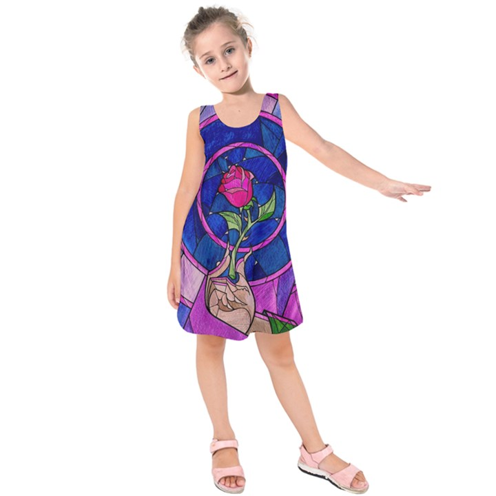 Enchanted Rose Stained Glass Kids  Sleeveless Dress
