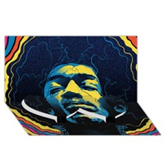 Gabz Jimi Hendrix Voodoo Child Poster Release From Dark Hall Mansion Twin Heart Bottom 3D Greeting Card (8x4)