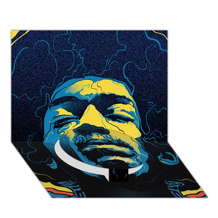Gabz Jimi Hendrix Voodoo Child Poster Release From Dark Hall Mansion Circle Bottom 3D Greeting Card (7x5)