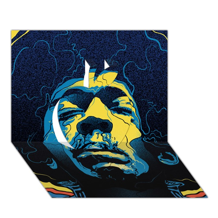 Gabz Jimi Hendrix Voodoo Child Poster Release From Dark Hall Mansion Apple 3D Greeting Card (7x5)