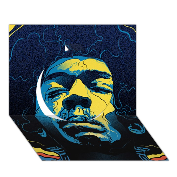 Gabz Jimi Hendrix Voodoo Child Poster Release From Dark Hall Mansion Circle 3D Greeting Card (7x5)