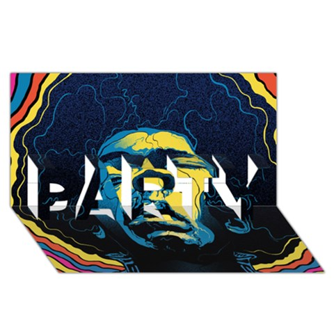 Gabz Jimi Hendrix Voodoo Child Poster Release From Dark Hall Mansion PARTY 3D Greeting Card (8x4)