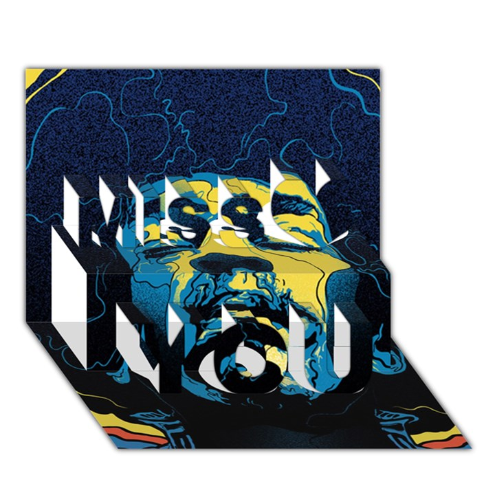Gabz Jimi Hendrix Voodoo Child Poster Release From Dark Hall Mansion Miss You 3D Greeting Card (7x5)