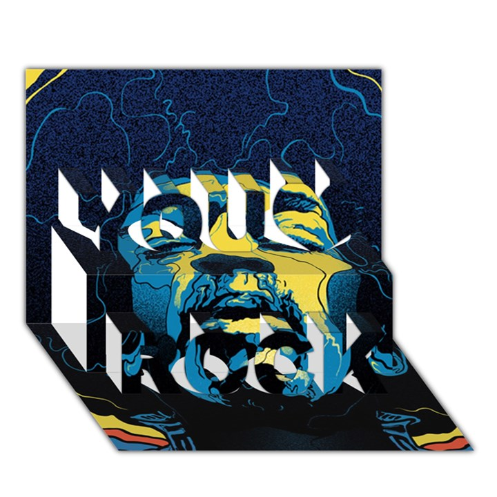 Gabz Jimi Hendrix Voodoo Child Poster Release From Dark Hall Mansion You Rock 3D Greeting Card (7x5)