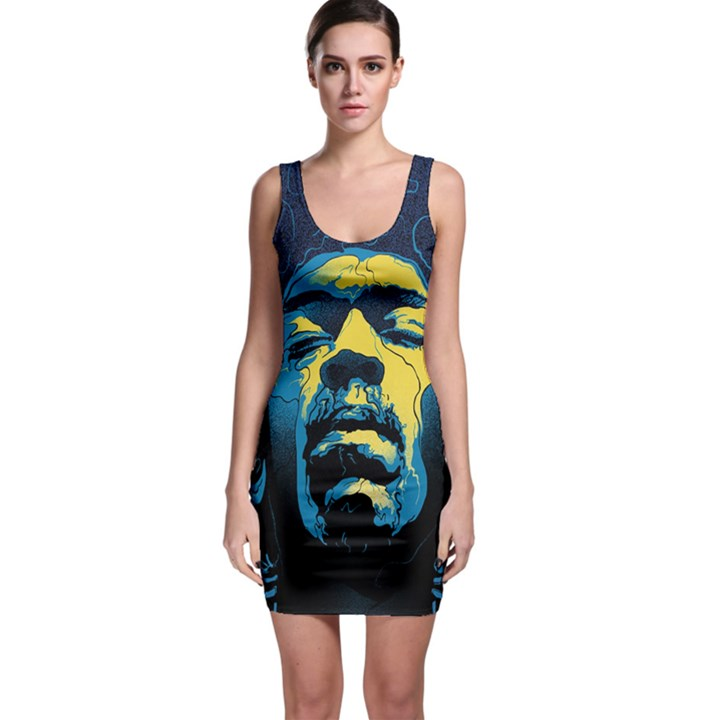 Gabz Jimi Hendrix Voodoo Child Poster Release From Dark Hall Mansion Sleeveless Bodycon Dress
