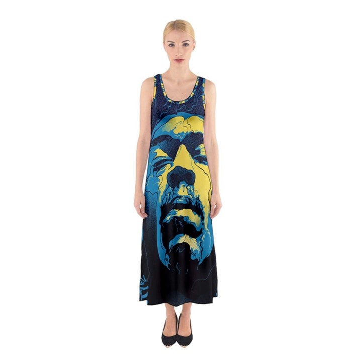 Gabz Jimi Hendrix Voodoo Child Poster Release From Dark Hall Mansion Sleeveless Maxi Dress
