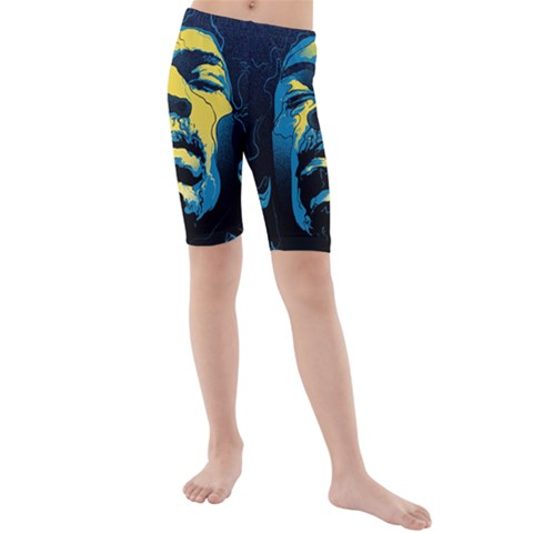 Gabz Jimi Hendrix Voodoo Child Poster Release From Dark Hall Mansion Kids  Mid Length Swim Shorts