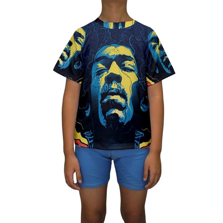 Gabz Jimi Hendrix Voodoo Child Poster Release From Dark Hall Mansion Kids  Short Sleeve Swimwear