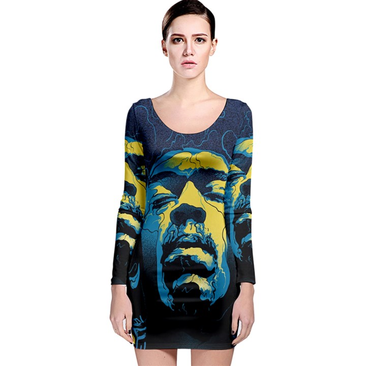 Gabz Jimi Hendrix Voodoo Child Poster Release From Dark Hall Mansion Long Sleeve Bodycon Dress