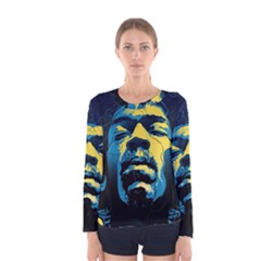 Gabz Jimi Hendrix Voodoo Child Poster Release From Dark Hall Mansion Women s Long Sleeve Tee