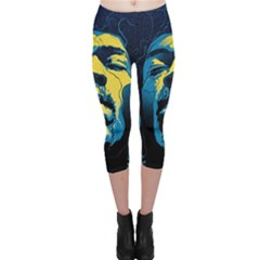 Gabz Jimi Hendrix Voodoo Child Poster Release From Dark Hall Mansion Capri Leggings
