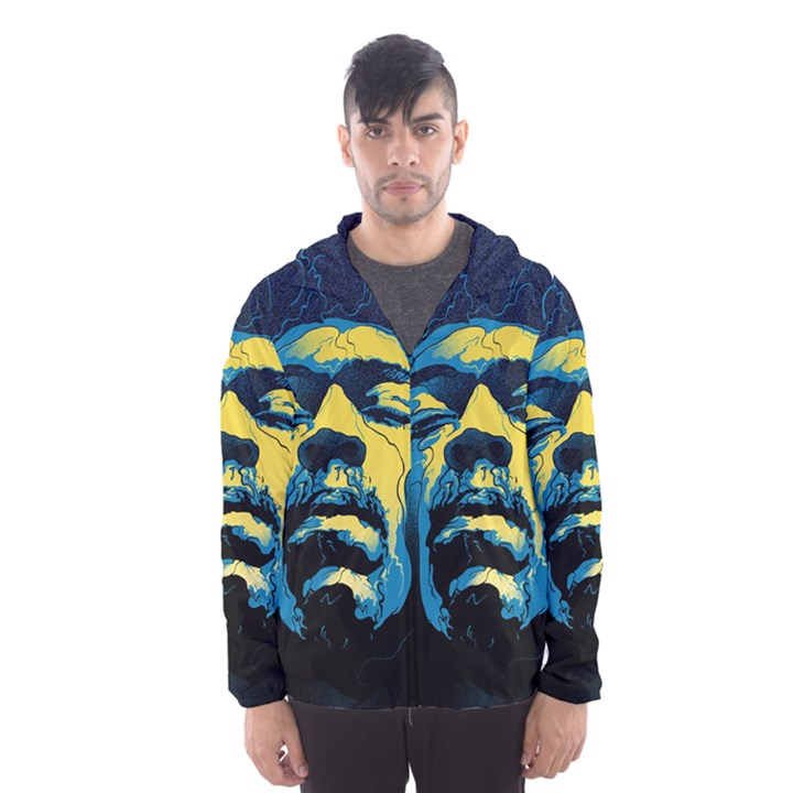 Gabz Jimi Hendrix Voodoo Child Poster Release From Dark Hall Mansion Hooded Wind Breaker (Men)