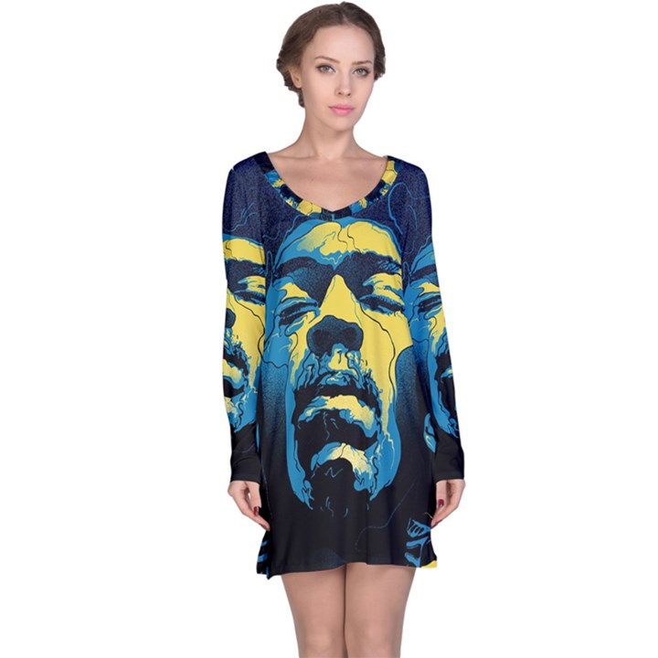 Gabz Jimi Hendrix Voodoo Child Poster Release From Dark Hall Mansion Long Sleeve Nightdress
