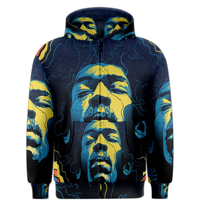 Gabz Jimi Hendrix Voodoo Child Poster Release From Dark Hall Mansion Men s Zipper Hoodie