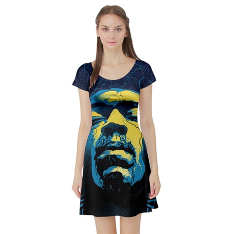 Gabz Jimi Hendrix Voodoo Child Poster Release From Dark Hall Mansion Short Sleeve Skater Dress