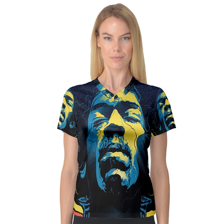 Gabz Jimi Hendrix Voodoo Child Poster Release From Dark Hall Mansion Women s V-Neck Sport Mesh Tee