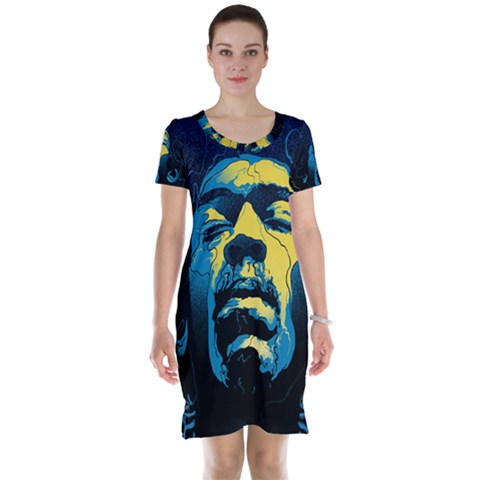 Gabz Jimi Hendrix Voodoo Child Poster Release From Dark Hall Mansion Short Sleeve Nightdress