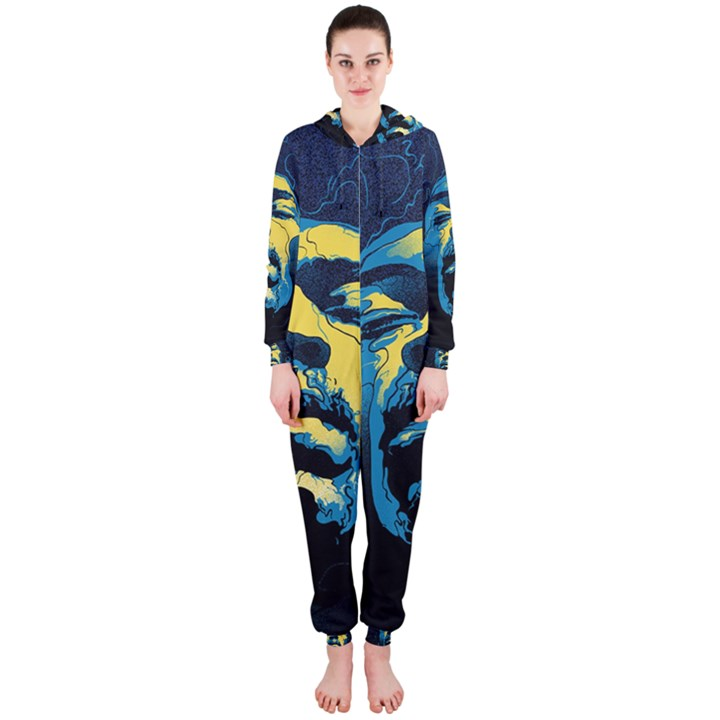 Gabz Jimi Hendrix Voodoo Child Poster Release From Dark Hall Mansion Hooded Jumpsuit (Ladies)
