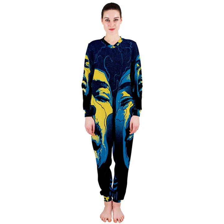 Gabz Jimi Hendrix Voodoo Child Poster Release From Dark Hall Mansion OnePiece Jumpsuit (Ladies)