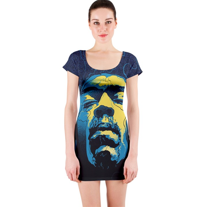 Gabz Jimi Hendrix Voodoo Child Poster Release From Dark Hall Mansion Short Sleeve Bodycon Dress