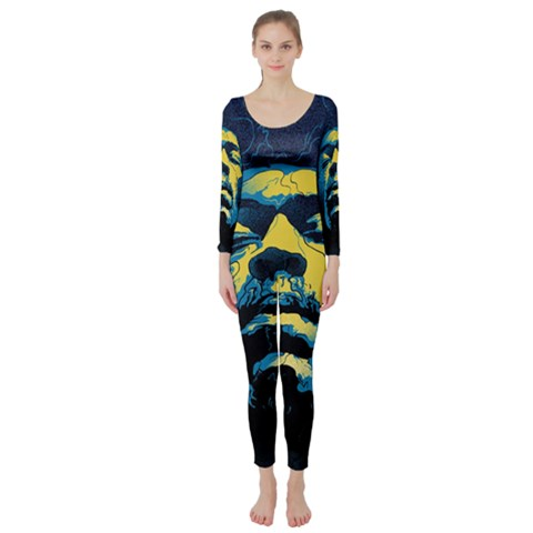 Gabz Jimi Hendrix Voodoo Child Poster Release From Dark Hall Mansion Long Sleeve Catsuit