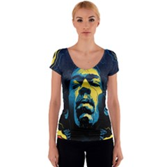 Gabz Jimi Hendrix Voodoo Child Poster Release From Dark Hall Mansion Women s V-Neck Cap Sleeve Top