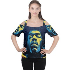 Gabz Jimi Hendrix Voodoo Child Poster Release From Dark Hall Mansion Women s Cutout Shoulder Tee