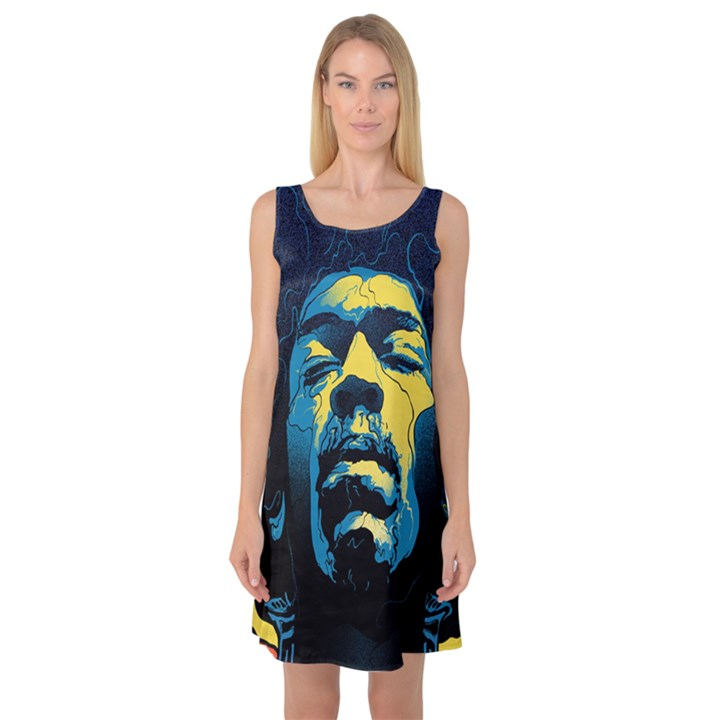 Gabz Jimi Hendrix Voodoo Child Poster Release From Dark Hall Mansion Sleeveless Satin Nightdress