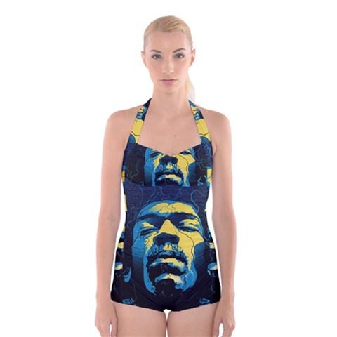 Gabz Jimi Hendrix Voodoo Child Poster Release From Dark Hall Mansion Boyleg Halter Swimsuit