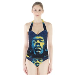 Gabz Jimi Hendrix Voodoo Child Poster Release From Dark Hall Mansion Halter Swimsuit