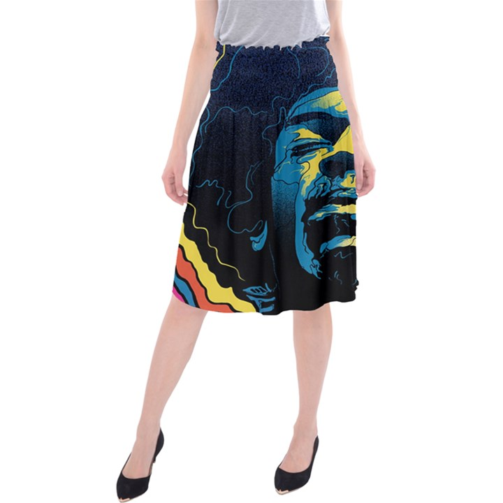 Gabz Jimi Hendrix Voodoo Child Poster Release From Dark Hall Mansion Midi Beach Skirt