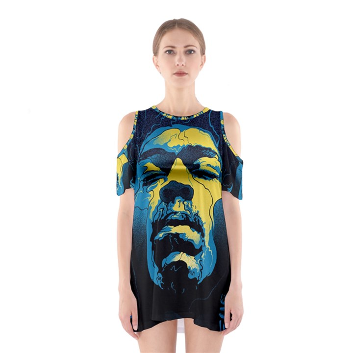 Gabz Jimi Hendrix Voodoo Child Poster Release From Dark Hall Mansion Cutout Shoulder Dress