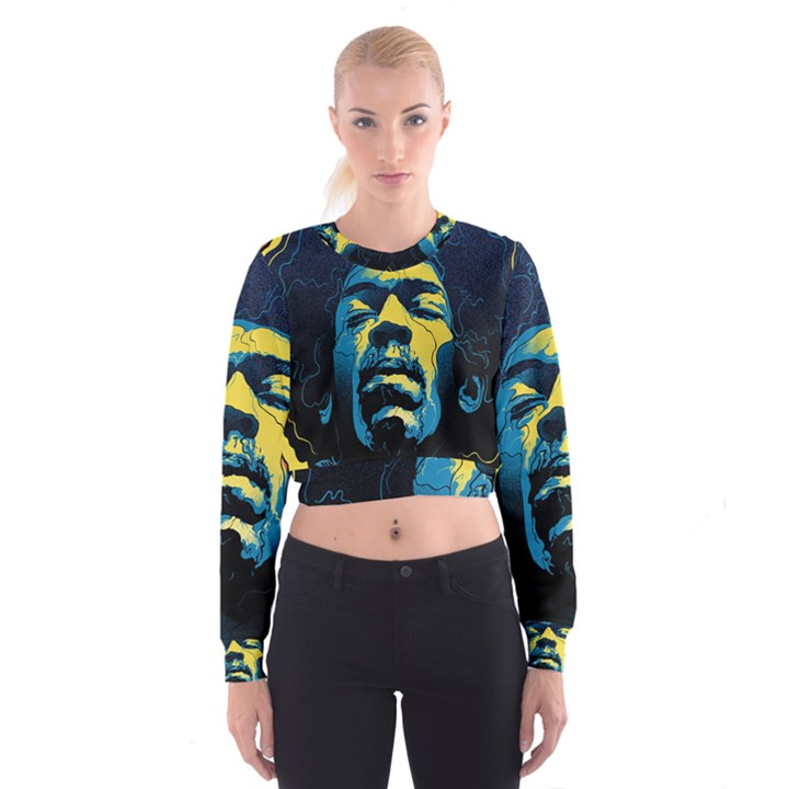 Gabz Jimi Hendrix Voodoo Child Poster Release From Dark Hall Mansion Women s Cropped Sweatshirt