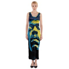 Gabz Jimi Hendrix Voodoo Child Poster Release From Dark Hall Mansion Fitted Maxi Dress