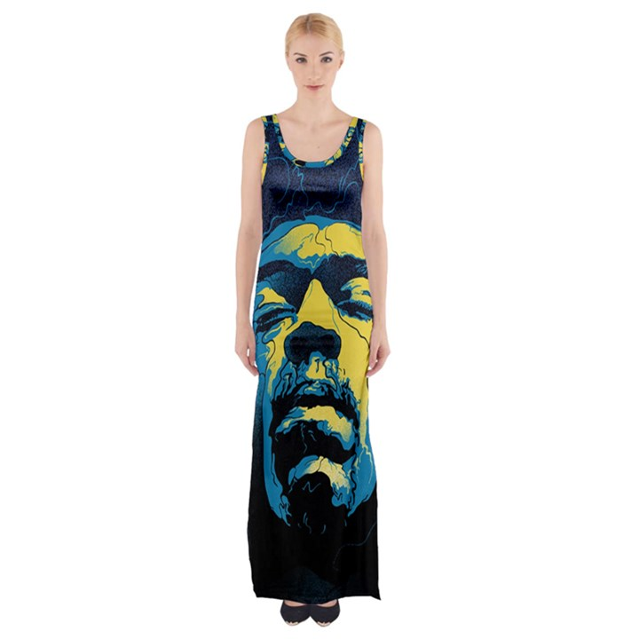 Gabz Jimi Hendrix Voodoo Child Poster Release From Dark Hall Mansion Maxi Thigh Split Dress
