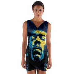 Gabz Jimi Hendrix Voodoo Child Poster Release From Dark Hall Mansion Wrap Front Bodycon Dress