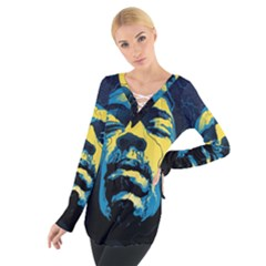 Gabz Jimi Hendrix Voodoo Child Poster Release From Dark Hall Mansion Women s Tie Up Tee