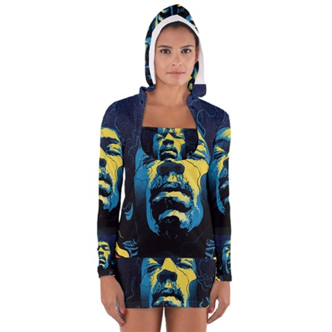 Gabz Jimi Hendrix Voodoo Child Poster Release From Dark Hall Mansion Women s Long Sleeve Hooded T-shirt