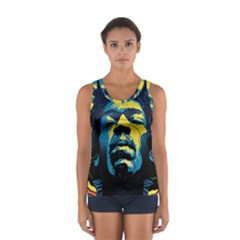 Gabz Jimi Hendrix Voodoo Child Poster Release From Dark Hall Mansion Women s Sport Tank Top