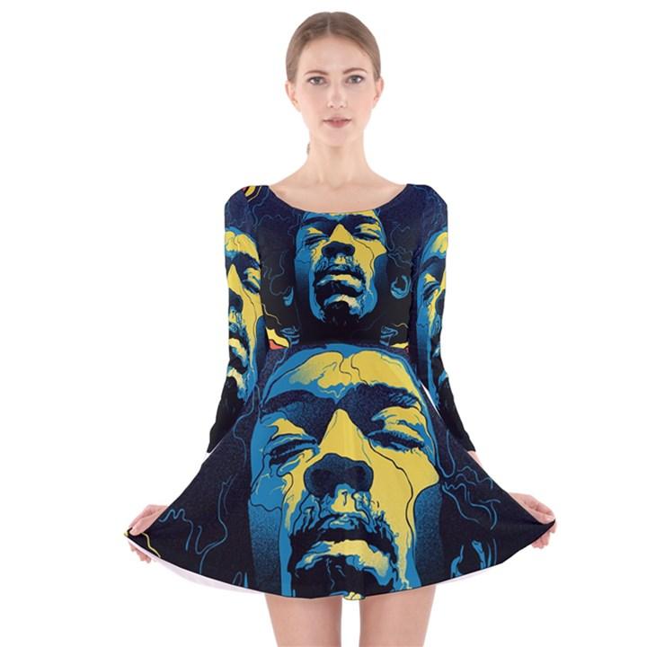 Gabz Jimi Hendrix Voodoo Child Poster Release From Dark Hall Mansion Long Sleeve Velvet Skater Dress