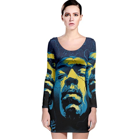 Gabz Jimi Hendrix Voodoo Child Poster Release From Dark Hall Mansion Long Sleeve Velvet Bodycon Dress