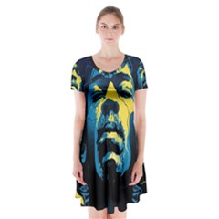 Gabz Jimi Hendrix Voodoo Child Poster Release From Dark Hall Mansion Short Sleeve V Neck Flare Dress