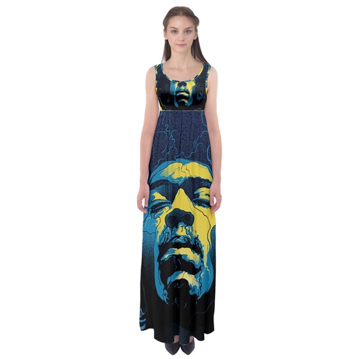 Gabz Jimi Hendrix Voodoo Child Poster Release From Dark Hall Mansion Empire Waist Maxi Dress
