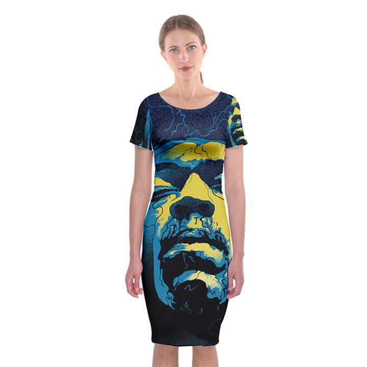 Gabz Jimi Hendrix Voodoo Child Poster Release From Dark Hall Mansion Classic Short Sleeve Midi Dress