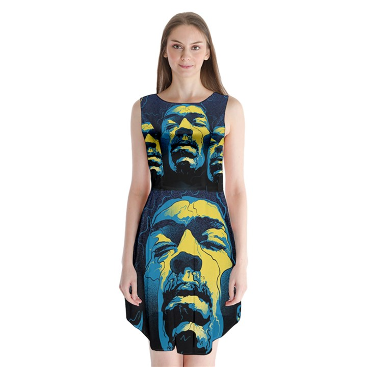 Gabz Jimi Hendrix Voodoo Child Poster Release From Dark Hall Mansion Sleeveless Chiffon Dress