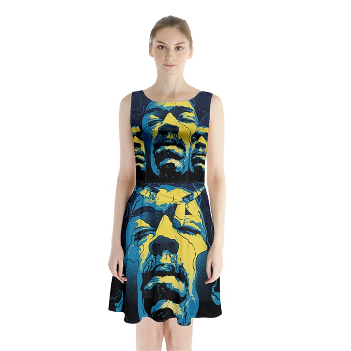 Gabz Jimi Hendrix Voodoo Child Poster Release From Dark Hall Mansion Sleeveless Chiffon Waist Tie Dress